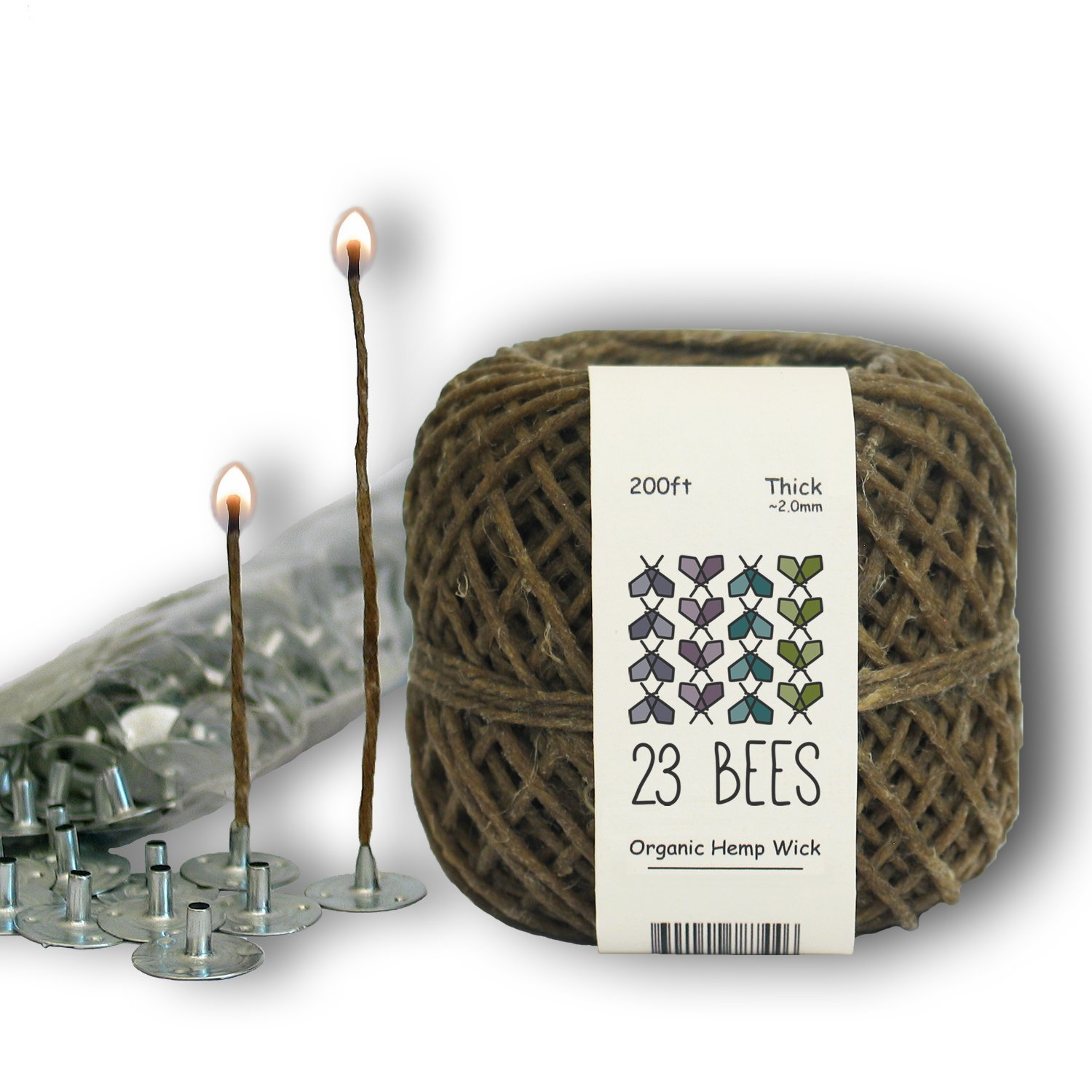 23 Bees 100% Organic Hemp Candle Wick + Wick Sustainer Tabs, 200ft(Thick) x 200pcs