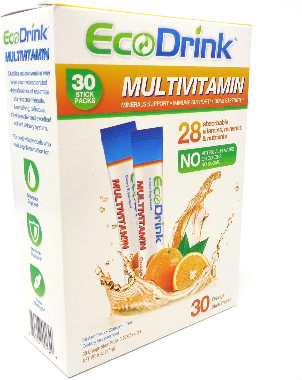 EcoDrink Complete Multivitamin Orange Flavor, 30 Count 2 Pack