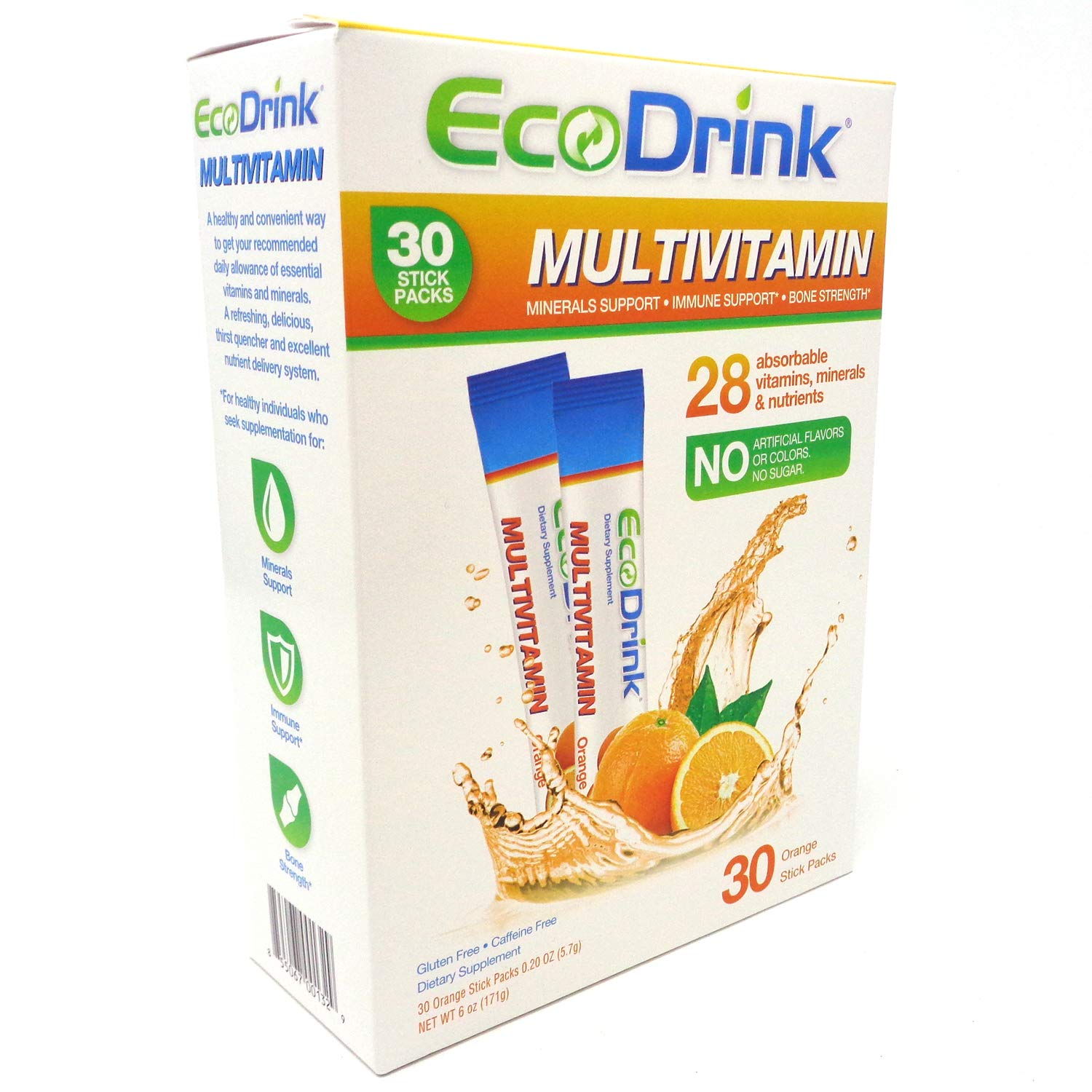 EcoDrink Complete Multivitamin Minerals Drink Mix – Orange – 30 Refill Pack, No Bottle