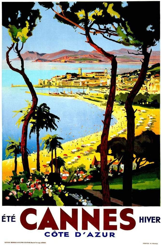 Cannes Hiver Cote DAzur Seaside French Vintage Travel Cool Wall Decor Art Print Poster 24x36