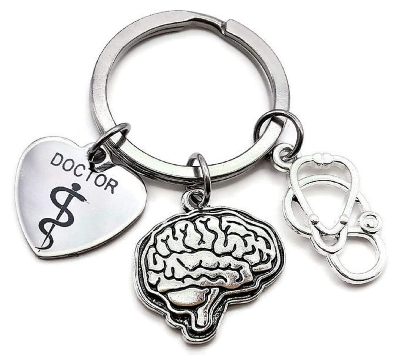 Doctor Keychain, Neurologist Keychain, Stethoscope Keychain, Brain Organ Keychain, Anatomical Brain Keychain, Doctor Gift, Brain Surgeon Keychain, ...