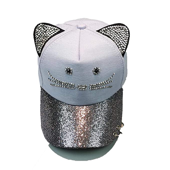 Amazon.com: Summer Cute Cat Ear Sequins Ring mesh Baseball caps Womens Adjustable Snapback Gorras Planas Hip hop hat: Clothing