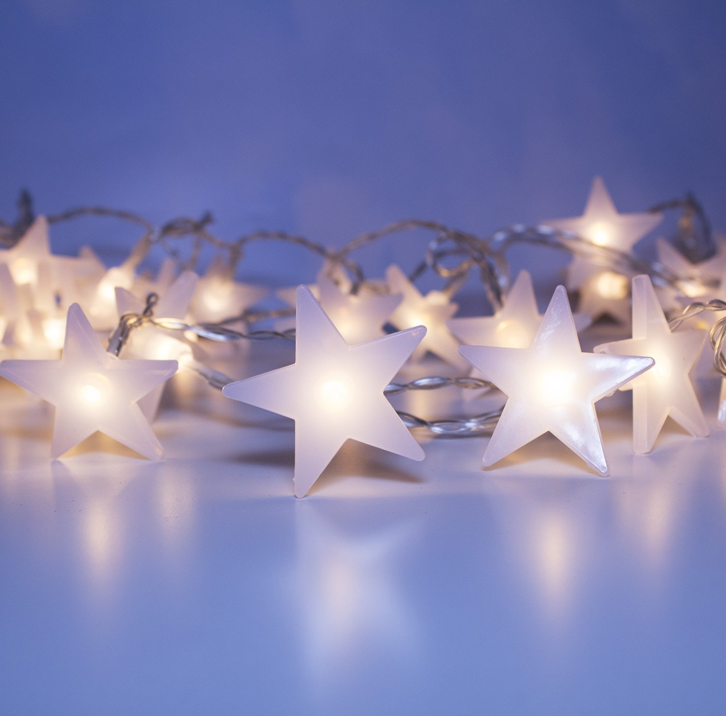 LuxLumi Starry & Glossy String Lights with Warm White 50 LED Star Lights for Bedroom, Living Room, Teens, Kids, College Dorm, Home Décor, Party, Bridal Shower, Baby Shower & Kitchen (18FT)