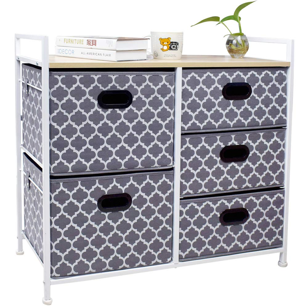 Wide Dresser Storage Tower 5 Drawer Chest, Sturdy Steel Frame, Wood Top, Easy Pull Fabric Bins,Organizer Unit for Bedroom, Playroom, Entryway, Closets, Lantern Printing Gray/White