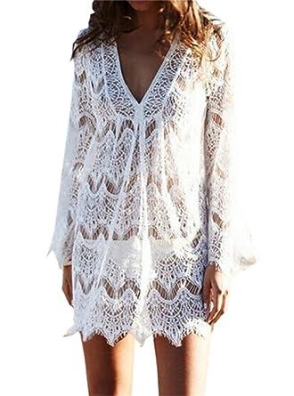 d4a2da8561 YUELANDE-Women Bathing Suit Cover up Bikini Swimwear Crochet Beach Dress at  Amazon Women's Clothing store: