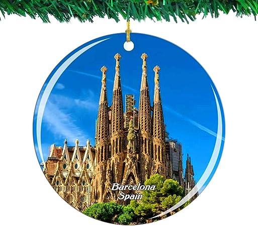 Weekino España Basílica de la Sagrada Familia Barcelona Navidad Ornamento Ciudad Viajar Recuerdo Colección Doble Cara Porcelana 2.85 Pulgadas Decoración de árbol Colgante: Amazon.es: Hogar