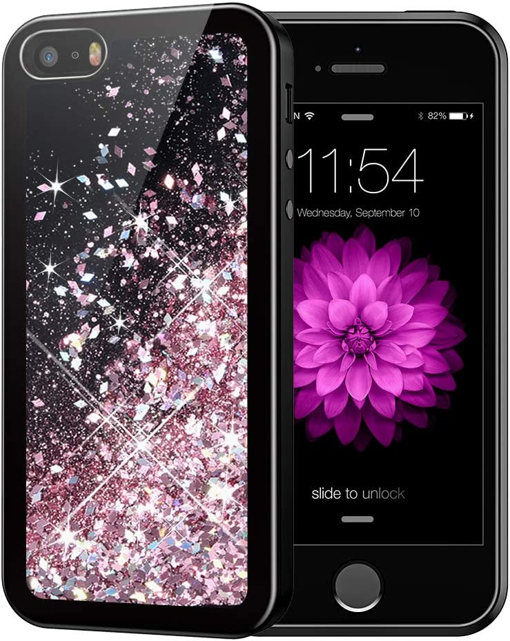 Caka iPhone 5 5S SE 2016 Case, iPhone 5S Glitter Case Starry Night Series Bling Fashion Luxury Flowing Liquid Floating Sparkle Glitter Soft TPU Case for iPhone 5 5S SE 2016 (Rose Gold)
