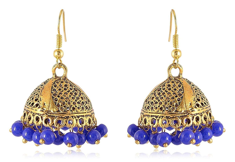 Subharpit Blue Pearl Golden Metal Indian Jhumka Jhumki Earrings Ethnic Tratitional Jhumki