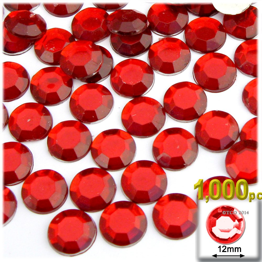 The Crafts Outlet 1000-Piece Flatback Round Rhinestones, 12mm, Ruby Red by The Crafts Outlet