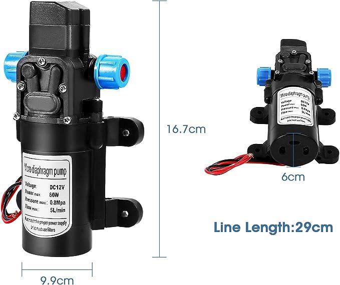 Membran Selbstansaugende Wasserpumpe Selbstansaugende Pumpe Automatisch Abschalten Dc 12v Hochdruckwasserpumpe 116psi Smart Switch Wasserpumpe Für Wohnwagen Boot Wohnmobil Garten Auto