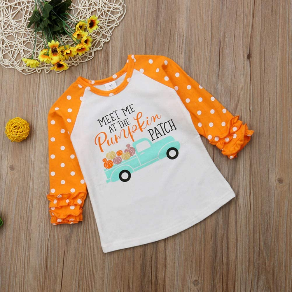 Toddler Baby Girls Halloween Unicorn Christmas Ruffle Long Sleeve Shirts Raglan T-Shirt Tops Holiday Clothes