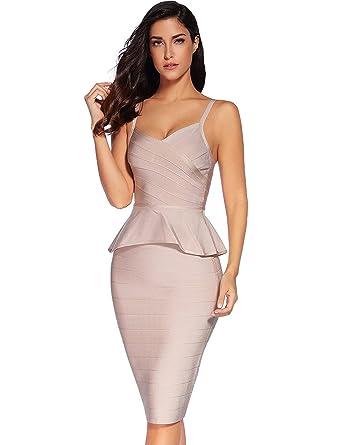 dee5acd04 Meilun Women Rayon Strap Falbala Midi Bandage Skirt Set Party Dress Beige