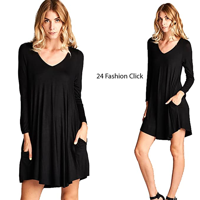 069d9086bb Women s Black Swing Loose Fit Scoop V-Neck Long Sleeve Dress Rounded Hems  Jersey Tunic