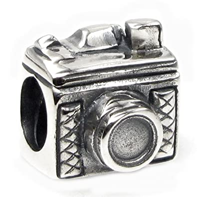 7b6c74a58c0d Image Unavailable. Image not available for. Color  Sterling Silver Classic  3D Photography Camera Bead for European Charm Bracelets