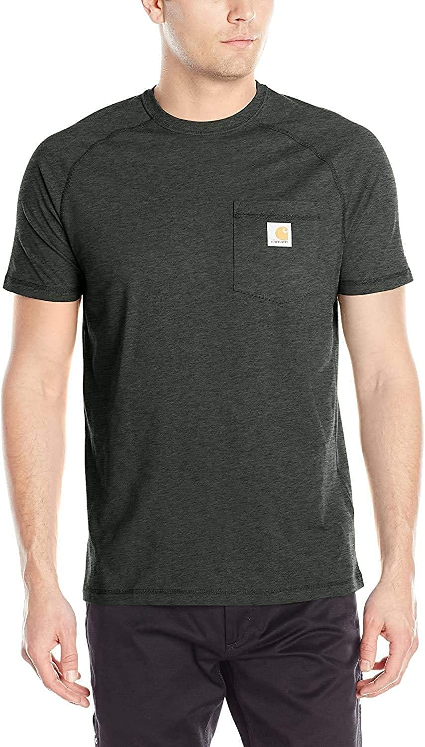 Carhartt Men's Force Cotton Delmont Short Sleeve T-shirt (Regular and Big & Tall Sizes): Clothing
