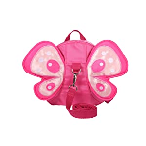 UTRO Baby Toddler Safety Harness Backpack Child Kids Strap Shoulder Backpack Bag with Reins Leash Rucksack Harness Walkers Tether Belt - Butterfly with Wings (Pink)