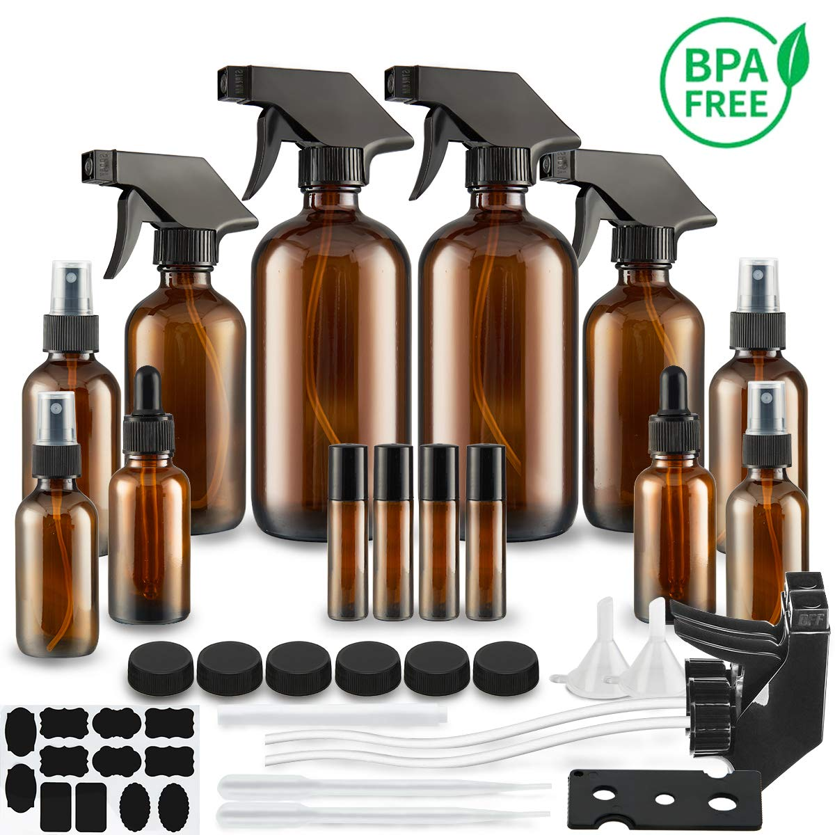 Glass Spray Bottle, SXUDA Amber Glass Spray Bottles Set Roller Bottles for Essential Oils, Cleaning Products or Aromatherapy (16OZ, 8OZ, 4OZ, 2OZ, 2OZ Dropper Bottle) x 2, 10 ml Roller Bottle x 4 by SXUDA