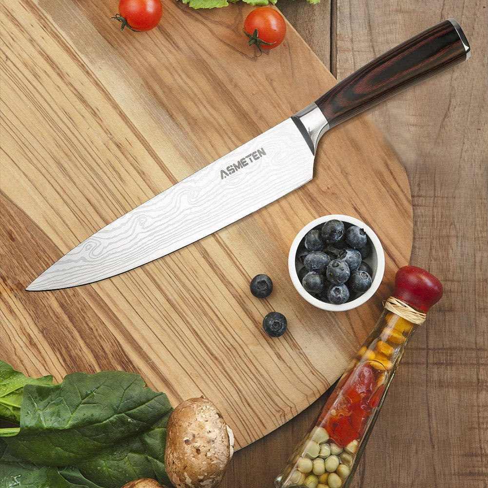 Asmeten Chef knife Kitchen Knife 8 Inch, Professional Chefs Knife, Powder Steel, Best Value With Exquisite Packaging, Ultra Sharp Cooking Knife (High ...