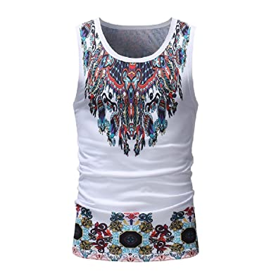 3b8df3c9fdc987 Abetteric Men Sleeveless African Floral Printed Tank Top Sleeveless Tee As  Picture S