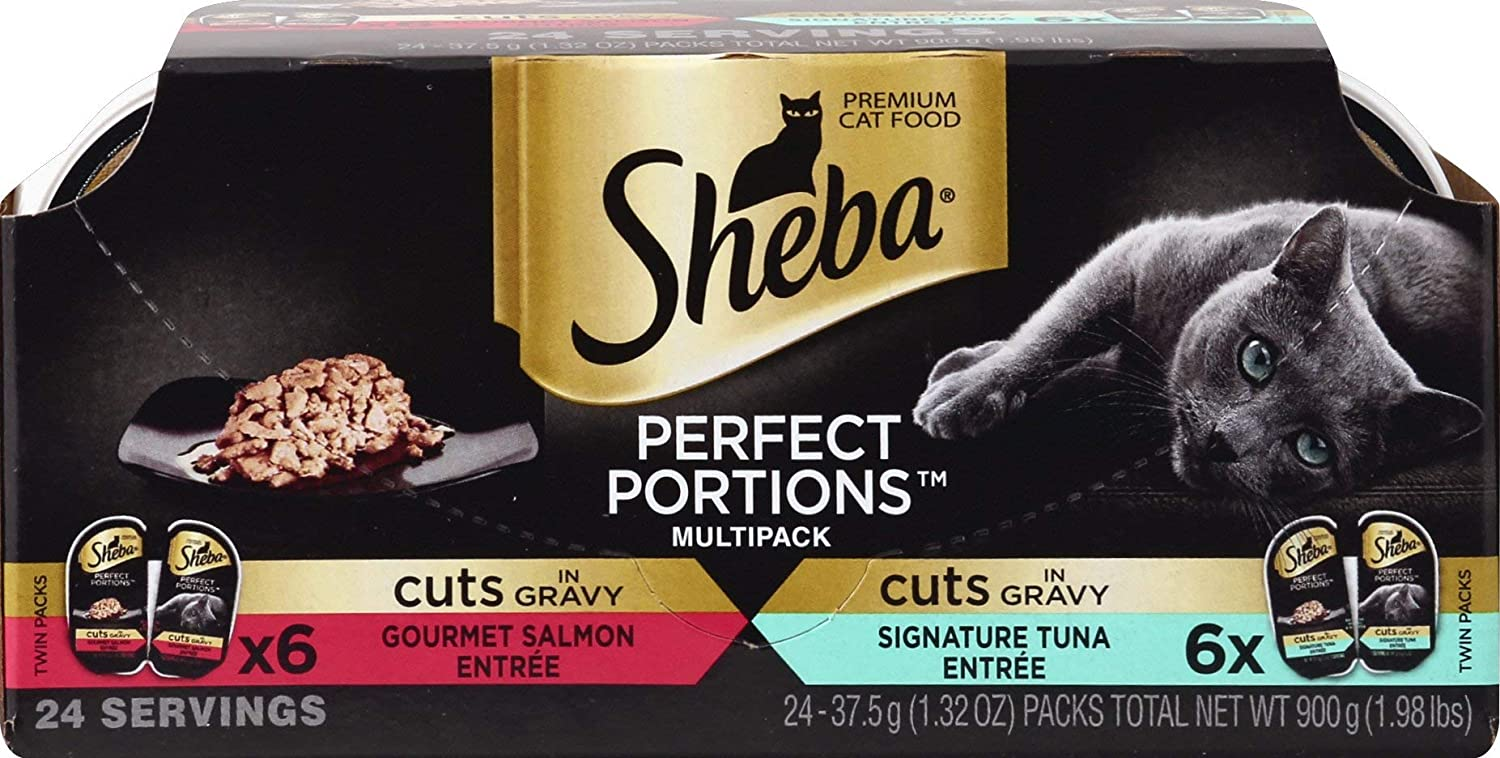 Sheba Wet Food Sheba Perfect Portions Wet Cat Food Cuts in Gravy Gourmet Salmon Entree & Signature Tuna Entree Variety Pack