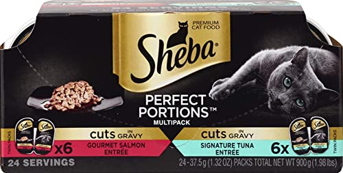 Sheba Wet Food Sheba Perfect Portions Wet Cat Food Cuts in Gravy Gourmet Salmon Entree Signature Tuna Entree Variety Pack