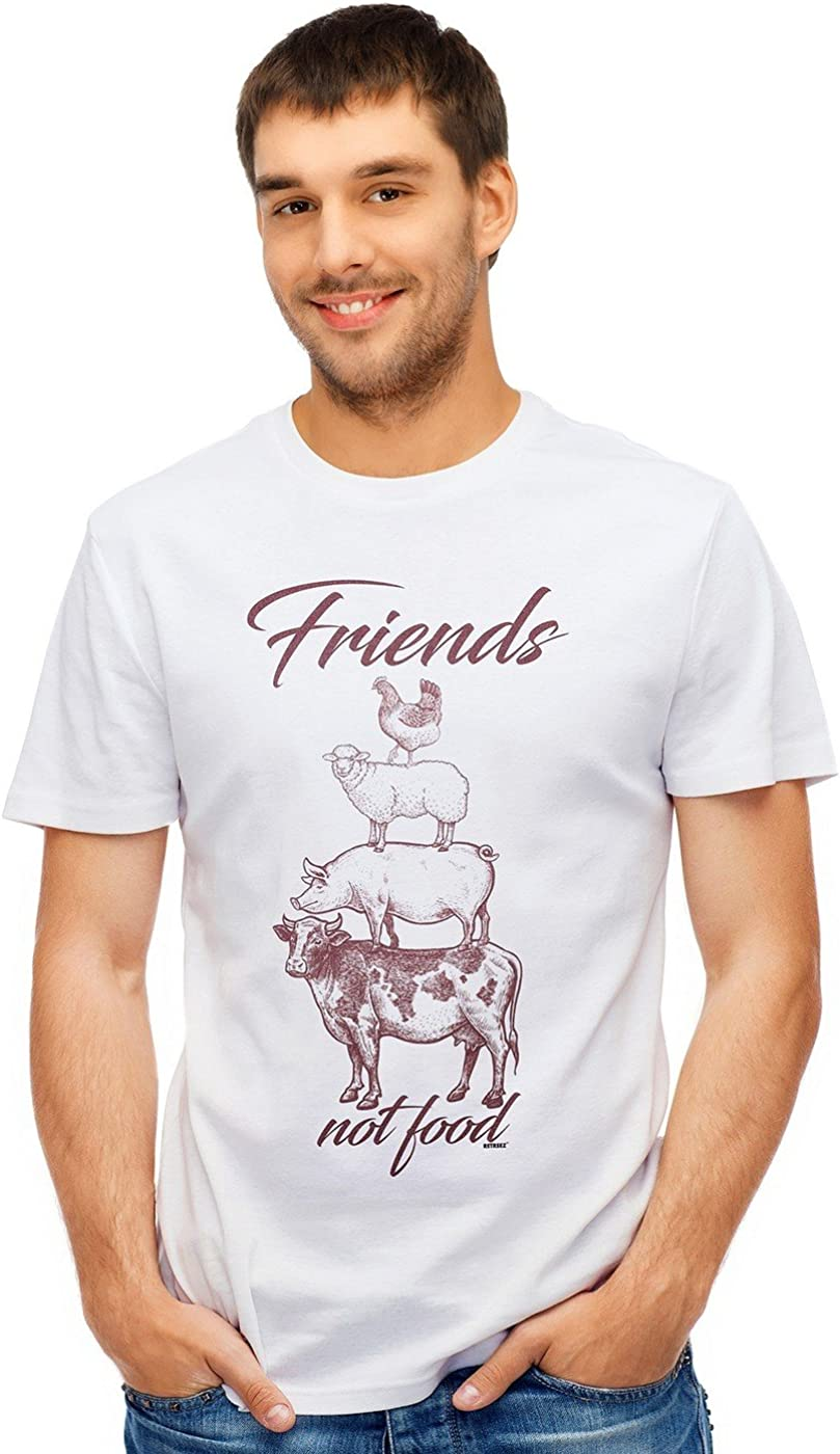Retreez Animals are Friends Not Food Vegan Graphic Printed T-Shirt Tee