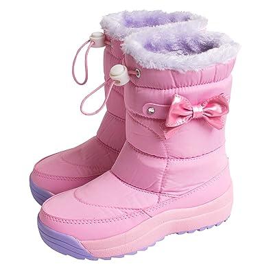 d6a8d02ba7d84  アリサナ  スノーブーツ キッズ 長靴 女の子 防寒 スパイク付き リボン ブーツ ピンク S(