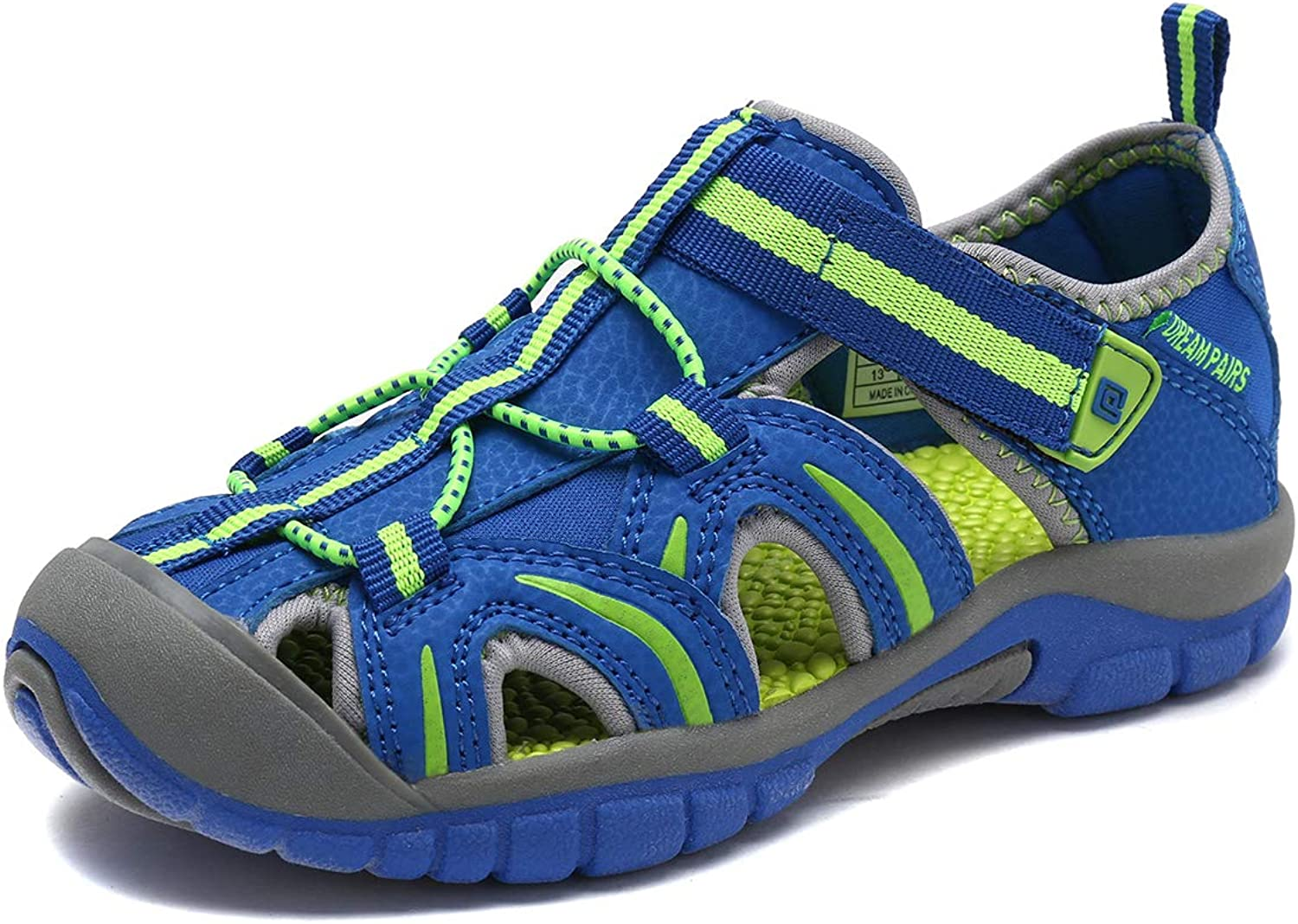 DREAM PAIRS Boys Girls 171112-K Navy NEON Green Outdoor Summer Sandals Size 4 M US Big Kid