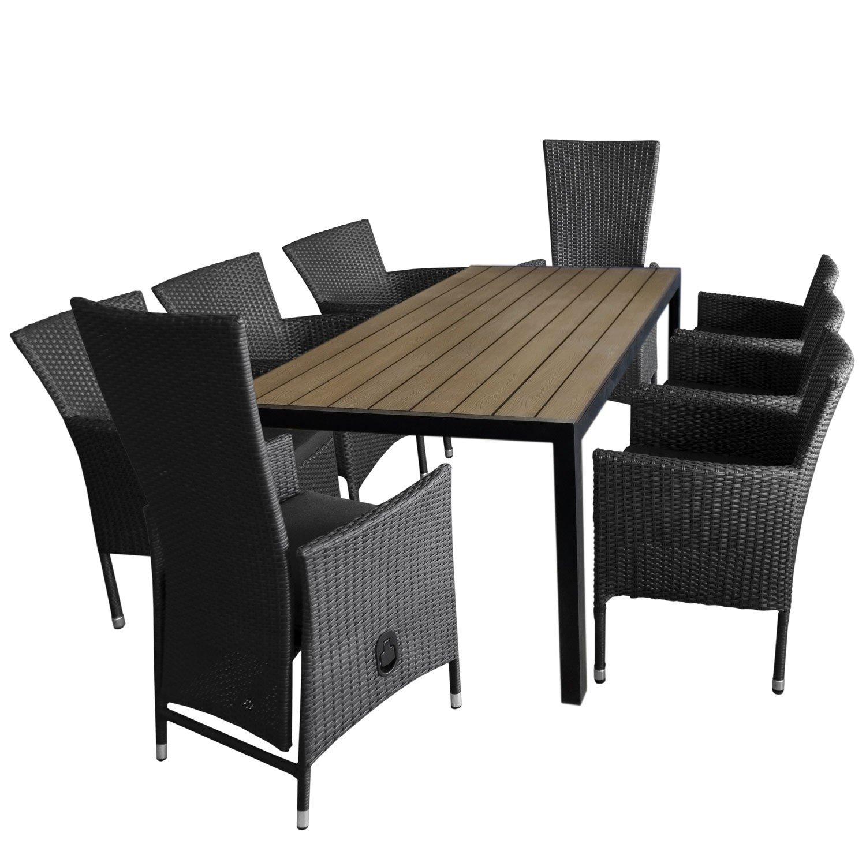 9tlg gartengarnitur aluminium gartentisch polywood tischplatte 205x90cm 6x rattansessel. Black Bedroom Furniture Sets. Home Design Ideas