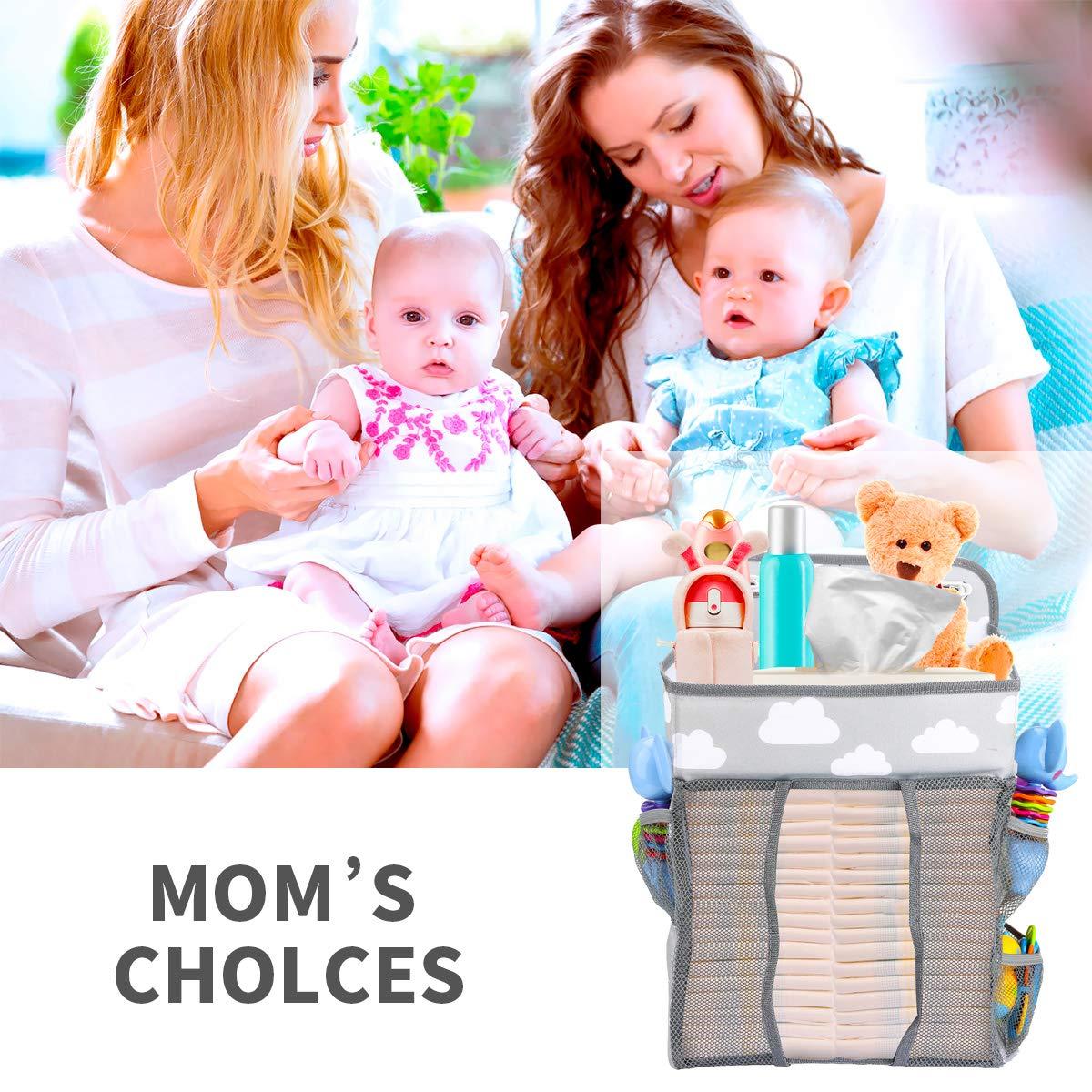 Zwini Multifunktionale Nachttischtasche zum Aufh/ängen Aufbewahrungstasche Baby Kindergarten Veranstalter tragbare h/ängende Windel Windel Caddy Veranstalter