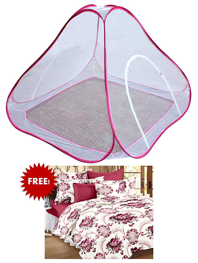 Bedspun Double Bed Pink Polyester Mosquito Net with Elegant Cotton Floral Bedsheets with 2 Pillow Covers (Double Size, Velvet and Red)