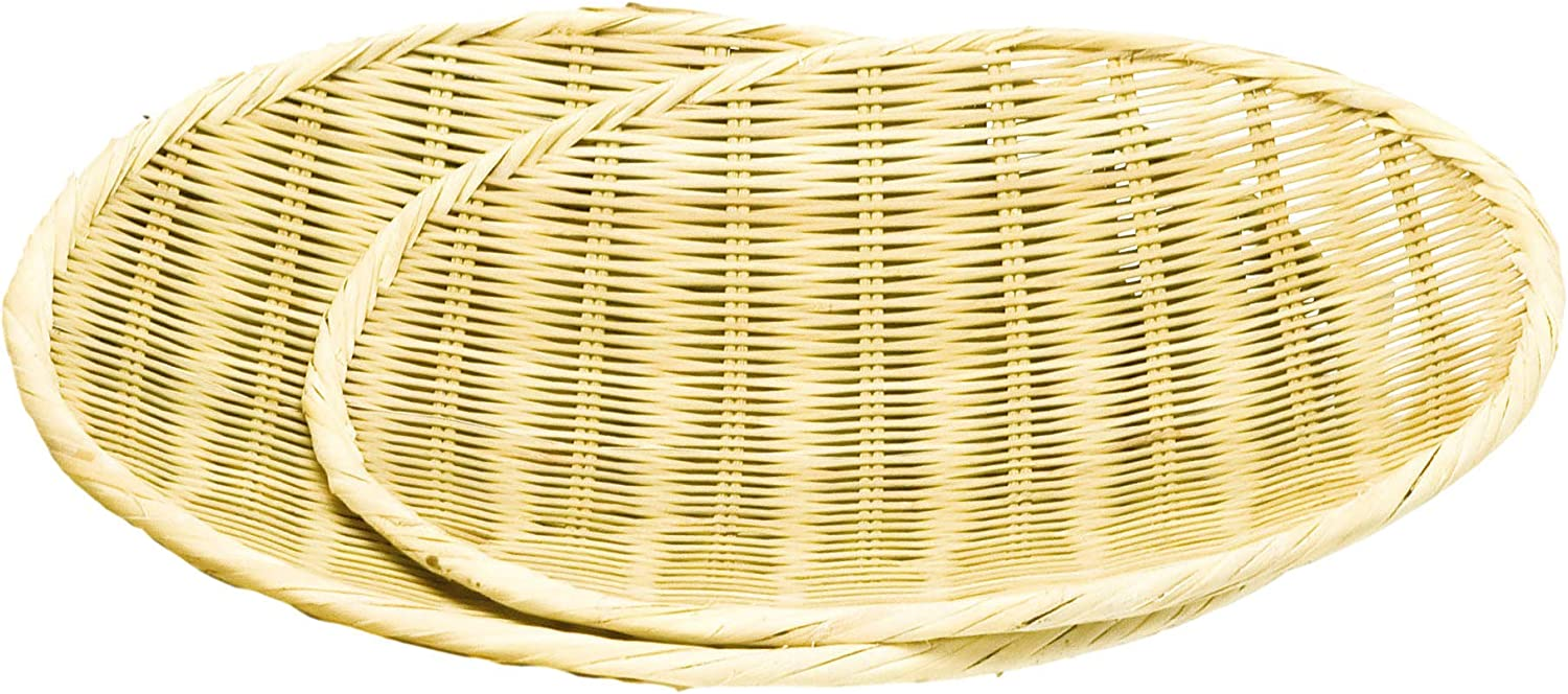 EDOYA Japanese Bamboo Basket Set (Set of 2) for Udon and Soba Noodles (φ8 in, φ11 in)