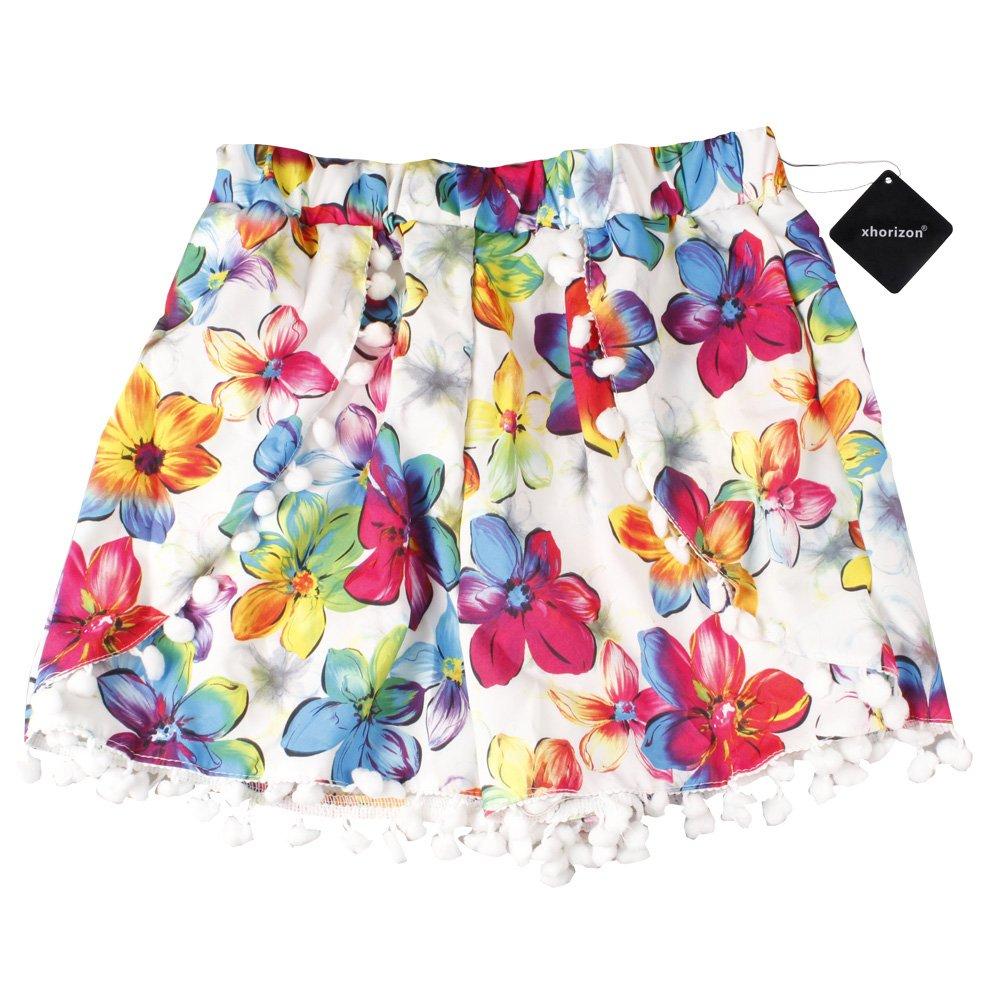 xhorizon TM KZ4 High Waisted Tassel Floral Tribal Beach Casual Shorts Pants
