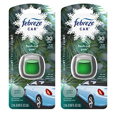 Febreze Car Vent Clip Air Freshener - Fresh-Cut Pine - Holiday Collection 2020 - Net Wt. 0.06 FL OZ (2 mL) Per Vent Clip - Pack of 2 Vent Clips: Health & Personal Care