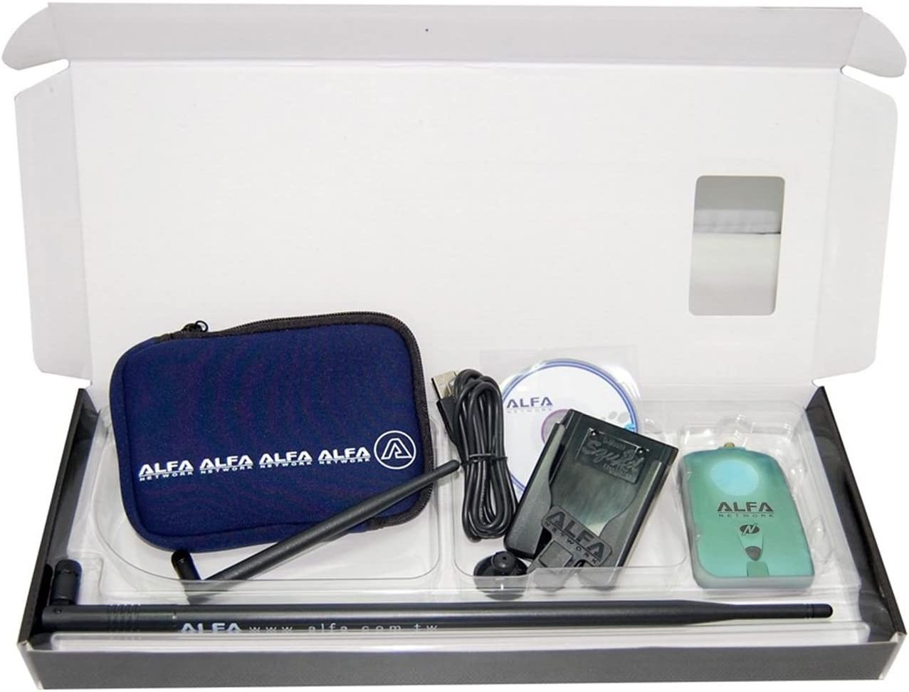 Alfa Network NH-Luxury - Kit Adaptador WiFi USB, AWUS036NH + Antena de 9 dBi + U-Bag + U-Mount-CS