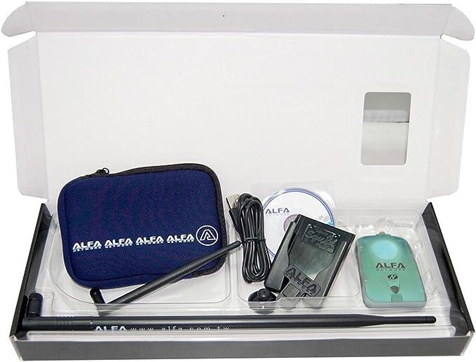 Alfa Network NH-Luxury - Kit Adaptador WiFi USB, AWUS036NH + Antena de 9 dBi + U-Bag + U-Mount-CS