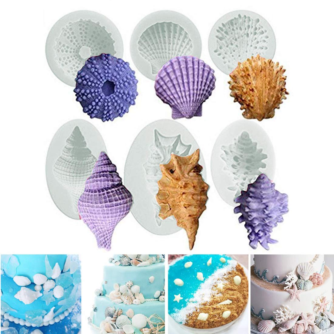 Sea Life Cake Mould Silicone 3D Starfish Seashells Conch Marine Beach Cupcake Topper,Fondant Cake Decorating Tools Chocolate Candy Soap Sugar Molds Kitchen Baking DIY Style of 6