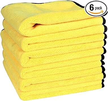 "6x Large 16/""x16/"" Kirkland Signature Microfiber Ultra Soft Cleaning Towels Cloths"