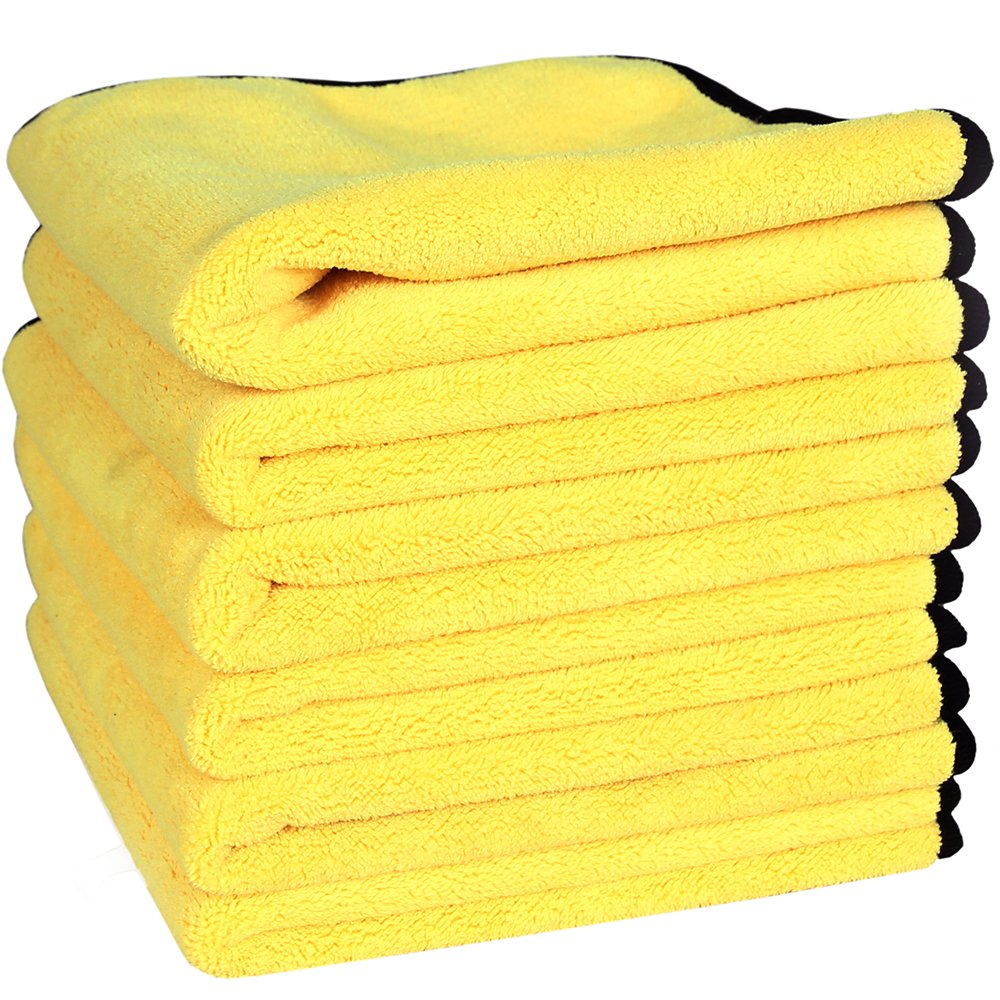 LANTEENSHOW (6-Pack) 800GSM PREMIUM 80/20 BLEND Ultra Thick Plush Microfiber towels for cars Buffing Cloths Super Absorbent Dry Auto Towels Yellow+Grey 12 x 16inches