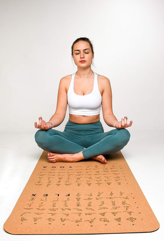 Die perfekte Fitnessmatte mit 8 mm St/ärke 183 x 61 x 0,8 cm hypoallergen und biologische abbaubar MYOGA-Yogamatte aus Kork mit Flex /& Yoga /Übungen+extra Tragegurt rutschfest