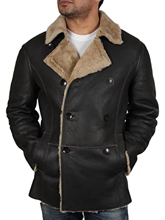 Brandslock Mens Aviator Bomber Flying Genuine Shearling ...