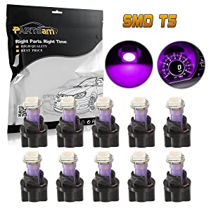 Partsam 10PCS Purple PC74 73 Instrument Panel LED Light Gauge Cluster Dashboard Lamp Bulbs with Twist Socket