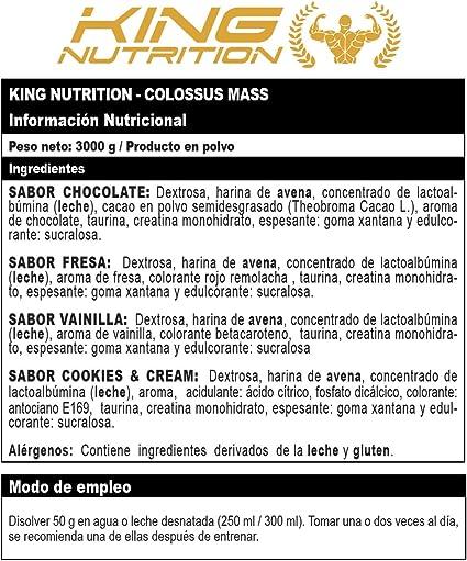 COLOSSUS MASS 3kg Cookies and Cream King Nutrition proteina carbohidratos creatina gainer subidor de masa peso y fuerza
