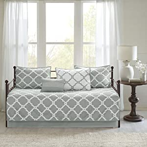 Madison Park Essentials Merritt Daybed Size Quilt Bedding Set - Grey, Geometric – 6 Piece Bedding Quilt Coverlets – Ultra Soft Microfiber Bed Quilts Quilted Coverlet
