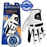 New & Improved 2X Long Lasting Bionic StableGrip Golf Glove - Patented Stable Grip Genuine Cabretta Leather, Designed by Orthopedic Surgeon!