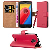 Moto C Case, Leather Wallet Book Card Case Cover Pouch For Motorola Moto C & Lenovo Moto C + Screen Protector & Polishing Cloth + Touch Stylus Pen (Red)