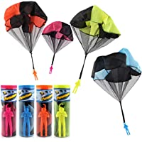 Zubita 4 Pack Parachute Toys, Tangle Free Throwing Toy Parachute Hand Soldiers Toss It Up and Watching Landing Soldiers Parachute, Outdoor Children's Flying Toys