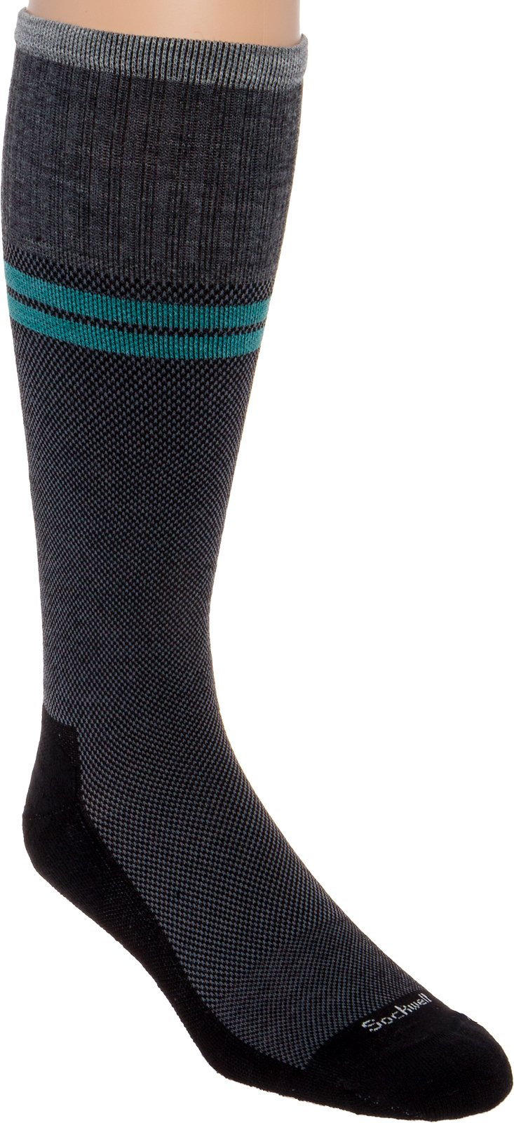 Sockwell Mens Wool Moderate Sportster Compression Socks (Black, M/L)