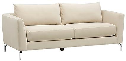 Rivet Emerly Modern Velvet Metal Leg Sofa, 84u0026quot; ...