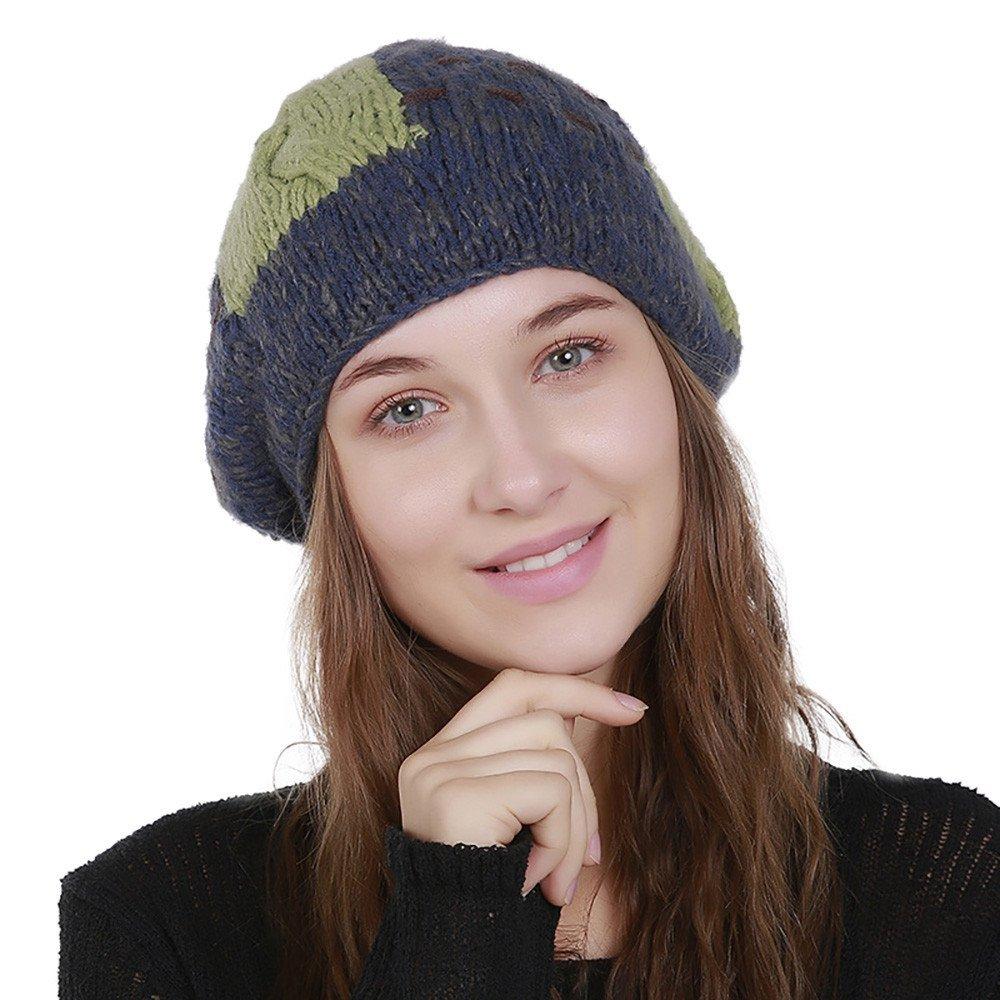 e365b73f1 TWGONE Knit Wool Hat Girl Color Block Beanie Winter Hat Ski Crochet ...